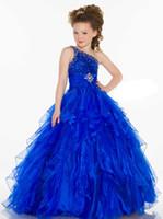 pretty dresses flower beads großhandel-Pretty Blue One-Shoulder Perlen Blumenmädchenkleider Mädchen Festzug Kleider Dressy Kleid Urlaub Kleid Benutzerdefinierte Größe 2 4 6 8 10 12 FF801022
