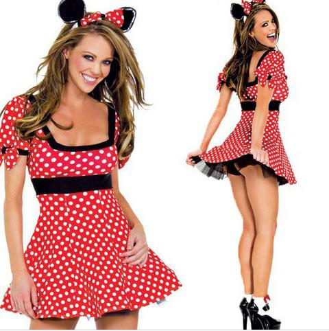 Mascot Plus Size Minnie Mickey Mouse Costume Women Cute Spots Fancy Tutu  Dress For Adult Anime Costume Mini Dress+Ear Band RS80 Best Halloween ...