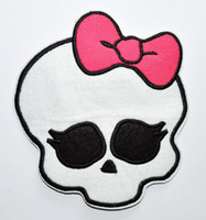 Wholesale Pink Skull Patch - Big!!! 5 inch high ~ Free Ship~ Lovely Monter high Pink Skull Iron On Patches, sew on patch,Appliques, Made of Cloth,100% Guaranteed Quality