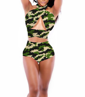 Wholesale hottest plus size swimwear online - Hot Sale Woman Sexy Push UP Camouflage Bikini Set Plus Size Pin up High Waist Swimwear Swimsuit Woman Summer Beach Dress Mix Colors