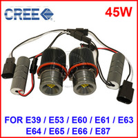 Wholesale Bmw E39 Headlights Xenon - 1 PAIR 45W CREE LED Angel Marker Eye Kit Canbus Error Free Halo Headlight Bulb Lamp Xenon White For BMW E39 E53 E60 E61 E63 E64 E65 E66 E87