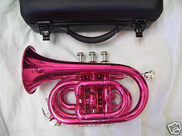 Wholesale-OP-Pink pocket Trumpet with hard case and mouthpiece