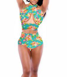 Wholesale Swimsuit Pin Up - New 2 Piece Bikini Set Push UP Halter Swimwear Pin-up High Waist Bandage Swimsuit Flower Bathing Suit Summer Dress