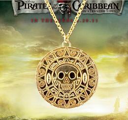 Wholesale Wholesale Caribbean Gifts - New Vintage Pirate Necklace Sweater chain necklace pendant pirate Aztec coins Caribbean round skull captain Jack bronze gold 24pcs