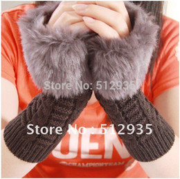 Wholesale Wholesale Leather Gloves Ladies - 2012 Winter Lady Faux Fur Knitting Long Sleeve Gloves ,Skin Care Fingerless Arm Mitten Women's Warmer Glove ,Free Shipping