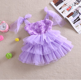 Wholesale Rose Tutu Dress Kids - Wholesale-Summer Baby Girl Dress Sleeveless Tutu Dresses Baby Kids Princess Lace Dress Children Rose Cake Dresses Chiffon 3 Color