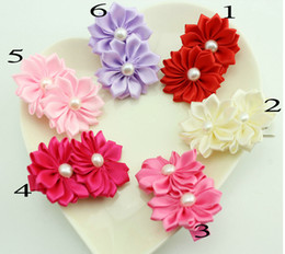 "Wholesale Wholesale Baby Hairclips - Girl 2"" Boutique Satin Flowers Hair Clips Children' Hair Accessories Baby Pearl Bows Hairclips Headwear 30pcs"