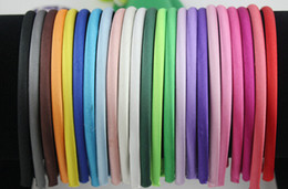 Wholesale Solid Satin Headband - Hot Sales 20 Colors Satin Covered girls and women Headbands 10mm 60pcs   lot