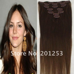 "Wholesale Chocolate Indian Remy Hair - 18"" Hot Indian Remy Human Hair Made Clip in on Hair Extensions, 70g set 7pcs set, Chocolate Brown #4, 1set lot, Free Shipping"