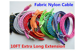 Wholesale Extra Long Data Cables - 3M 10Ft Extra Long Extension USB Fiber Braided Fabric Knit Nylon Data Sync Charging Charger Cable Cord Lead For Samsung Smartphone Cellphone