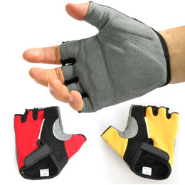 Wholesale Bike Training - S362 New Unisex Cycling Bike Bicycle Gel Silicone Antiskid Active Sport GYM Exercise Training Half Finger Figerless Gloves Black