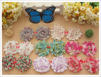 Wholesale Shabby Chic Flowers For Babies - 100pcs baby accessories chiffon lace fold over flower shabby chic flowers hair satin flower for hair headband