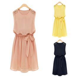 Wholesale Dots Women Dress Belt - S5Q Womens Chiffon Sleeveless Dress Handmade Bead Shoulder Bow Belt Pleated Vest Dress AAABYR