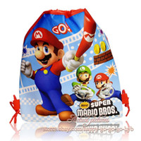 Wholesale Super Mario Backpacks For Kids - Wholesale-OP-12 Pcs Super Mario Bros Children Cartoon Drawstring Backpack Kids School Bags ,Mixed 4 Models,34*27cm,Kids Best Gift for kid