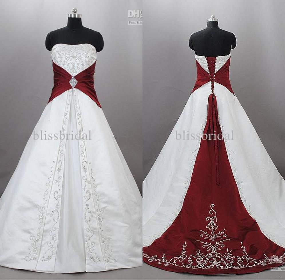 Discount Junoesque Strapless Satin Embroidery Red And White Wedding Dresses Zuhair Murad Lace Up With Sweep Train Bridal Gowns Custom Made Chiffon A