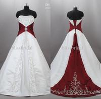 vestido de novia blanco tren rojo al por mayor-Junoesque Strapless Satinado bordado rojo y blanco vestidos de novia Zuhair Murad ata para arriba con tren de barrido vestidos de boda nupciales por encargo