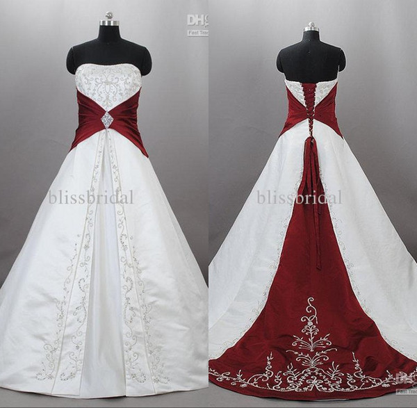 Junoesque Strapless Satin Embroidery Red And White Wedding Dresses Zuhair Murad Lace Up With Sweep Train Bridal Wedding Gowns Custom Made