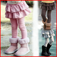 Wholesale Girls Culottes Spring Autumn - 2015 foreign trade children's clothing autumn winter children girls leggings culottes cake skirt pants boy pants fake two black 6color melee