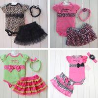 Hot selling 2016RetailBaby romper Romper + Tutu Skirt + Headband 3pcs set infant suits Girl's Fashion Cotton Toddler bodysuit Fashion Leopard Dots Skull