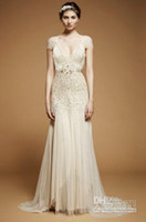 Wholesale jenny packham crystal wedding dress - 2014 Free shipping Jenny Packham Wedding Dresses 2014 Sexy V Neck Short Sleeves Beading A line Wedding Dresses beach bridal gowns