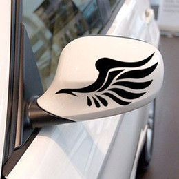 Wholesale Carbon Fiber Wing - Reflective personalized car stickers reflective stickers fashion mirror a pair of wings car styling free shipping