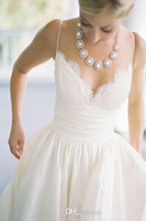 Wholesale Great Dress Pinks - 2014 Lace Embroidery Backless Sleeveless Sweetheart Wedding Dresses With Pockets A Great Way To Sneak Your Lipstic Or VowsSpaghetti New