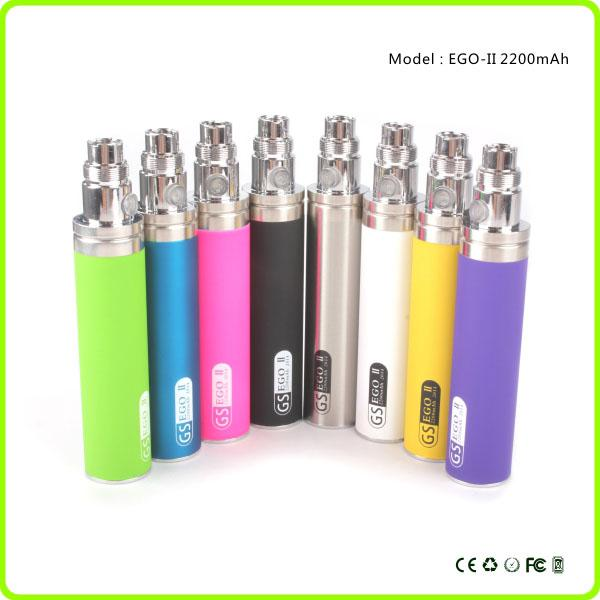 Hottest product ego 2200mah battery GS Ego II Battery Huge Capacity KGO ONE WEEK Battery for Vaporizer Pen e cigarette 510 EGO Atomizer