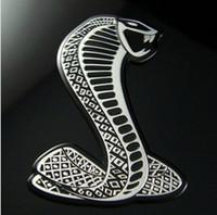 ingrosso auto di shelby-2 colori argento oro FORD shelby cobra vympel adesivi per auto emblema in metallo decalcomania decorazione 3D docer racing sticky pad personalizzato
