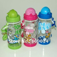 Wholesale Tom Jerry School - Wholesale-OP-12pcs lot, NEW arrival 400ml 14oz water drink bottle for school children with transparent body and original Tom and Jerry
