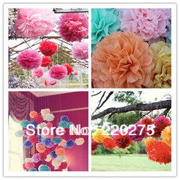 Wholesale Pompom Paper - Free Shipping 5pcs 20cm(8 inch) Tissue Paper Pom Poms Wedding Party Craft Paper Flower For Wedding Decoration pom pom pompom