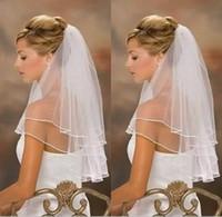 vestidos de casamento véu livre venda por atacado-Frete Grátis 2 Camadas de Marfim Branco Acessórios De Noiva Véu vestidos de noiva Frisado véu de noiva de noiva Com Pente