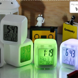 Wholesale Glow Clocks - Color Changing LED Clock Digital LED Alarm Clock LED Night Light 7Colors Change Digital Alarm Clock Thermometer Night Colorful Glowing Light