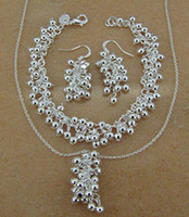 Wholesale Earring Grape Silver - Hot New Fashion jewelry hot 925 sterling silver grape necklace&earring&bracelet jewelry set 925 Jewelry Sets 1019