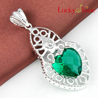Wholesale Cheap Heart Shaped Pendants - Luckyshine 2piece lot Christmas 925sterling silver special Good things cheap price Heart-shaped Green amethyst crystal pendant for lady p411