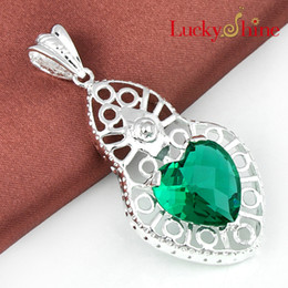 Wholesale Lockets For Cheap - Luckyshine 2piece lot Christmas 925sterling silver special Good things cheap price Heart-shaped Green amethyst crystal pendant for lady p411