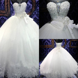 Chinese vestido de festa Custom Made 2018 New Wedding Dress Bridal Gown With Ball Gown Luxury Crystals Sweep Train manufacturers
