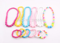 Wholesale Mixed Color Acrylic Beads - Candy Color Beads Children Jewelry Set Girl Kids Baby Acrylic Beads Elastic Stretchy Necklace Bracelet Set Wholesale ZST52
