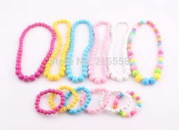 Wholesale Children Girl Necklace - Candy Color Beads Children Jewelry Set Girl Kids Baby Acrylic Beads Elastic Stretchy Necklace Bracelet Set Wholesale ZST52