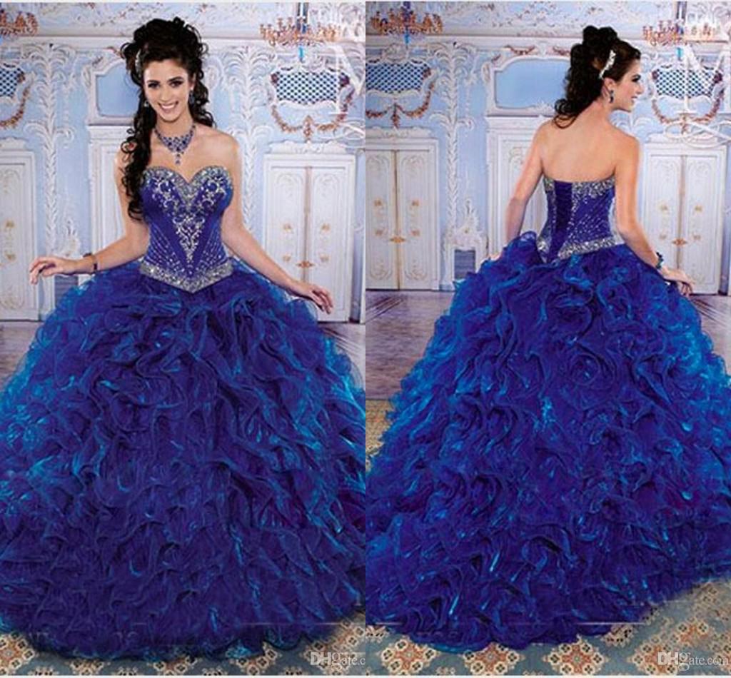 Compre Lc 2014 15 Dulces Azul Real Vestidos De Quinceañera Vestido ...