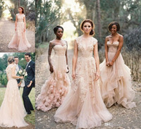 Wholesale beautiful long gowns - 2016 beautiful light pink Vintage Lace Appliqued Wedding Dresses Sexy V-Neck Sheer Back A-Line wedding gowns Court Train Tulle Bridal Gowns