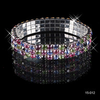 Wholesale pearl bangle bracelets - 15012 Colorful Rhinestones Bridal Jewelry Pearls Bracelets bridal Wedding Accessories Silver Plated 3 Row Chain Style Wedding Bracelet 2018