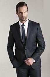 Wholesale Cheap Groomsmen Black Suits - New 2015 Design Cheap Tuxedos Man Suit Slim Fit Groomsman Bridegroom Suits (Jacket+Pants+Tie+Vest) QH107