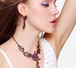 Wholesale Butterfly Necklace Purple - Fashion Gorgeous Jewelry Sets Retro Palace Necklace Earrings Violet Butterfly Floral Pattern Popular Sale Luxury Style