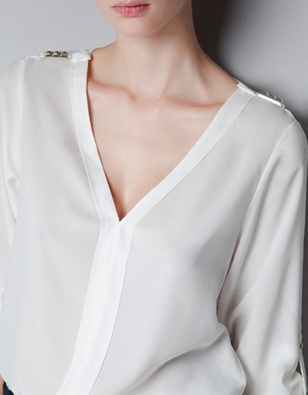 2016 Camicette di moda Camicie Nuove donne Chic autunno Chiffon Camicette con scollo a V Rivetto Camicie a maniche lunghe Tops donna Casual Nero Camicetta bianca E58