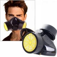 küçük maskeler toptan satış-Çift Kartuş Kimyasal Solunum Filtresi Filtre Kutusu Filtreler Tozlar Mists Metalik Dumanlar Boya Küçük Uçan Ücretsiz kargo