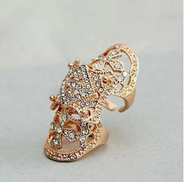 Wholesale Armor Joint - Joint Armor Knuckle Ring Cross Hollow Out Style Gold Silver Color 12PCS Free Shipping 0814B6