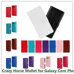 Canada Hot luxe en cuir PU Crazy Horse grain poche colorée Stand Wallet Case pour Samsung galaxie plus g3500 G3502 sac de téléphone portable Offre