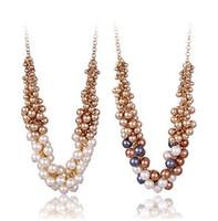 Wholesale Retro Style Bib Necklace - Brand New Euramerican Style Retro Pearl Women Fashion Bib Choker Statement Necklace 2pcs lot Free Shipping [JN06179*2]