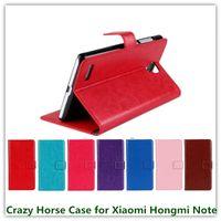 Wholesale Hongmi Black - Folio Design Crazy Horse Grain Luxury PU Leather Folding Wallet Pouch Case for Xiaomi Hongmi Note   Redmi Note Cellphone Bags Free