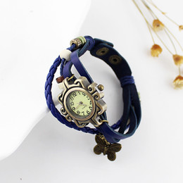 Wholesale Vintage Auto Watch - Vintage Antique Gold Alloy Butterfly Hollow Out Watch Face PU Leather Knitted Beads Women Quartz Dress Wristwatches